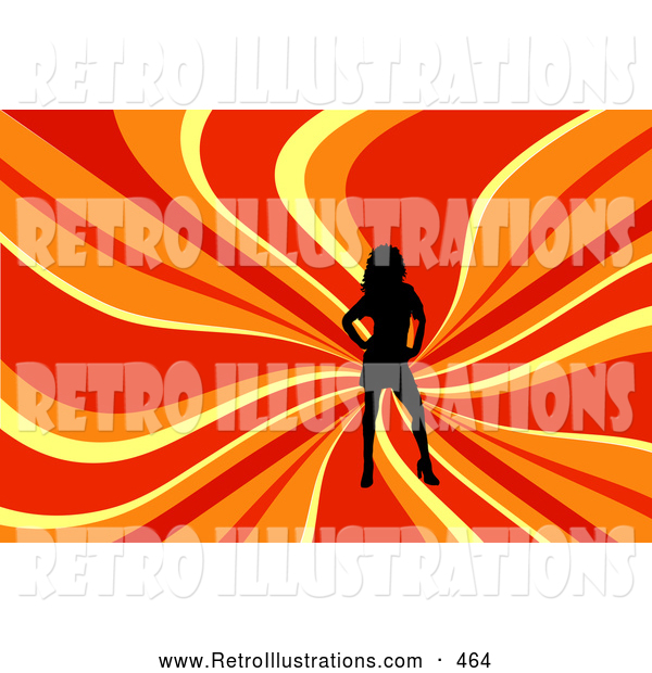 Retro Illustration of a Sexy Black Silhouetted Woman Posing over a Wavy Red, Orange and Yellow Background