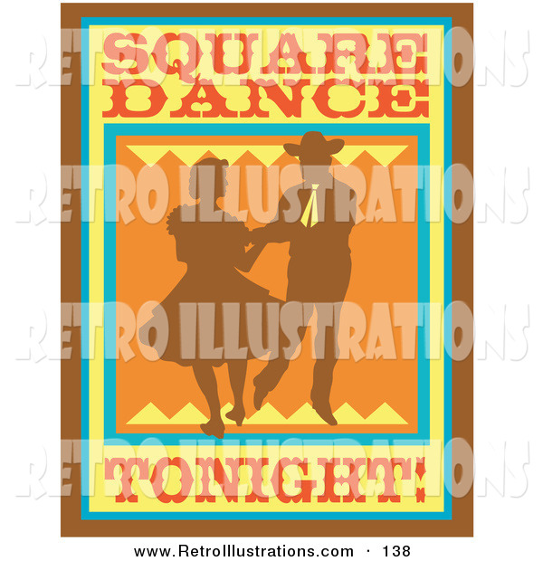 Retro Illustration of a Sign of a Silhouetted Cowboy Square Dancing with a Woman