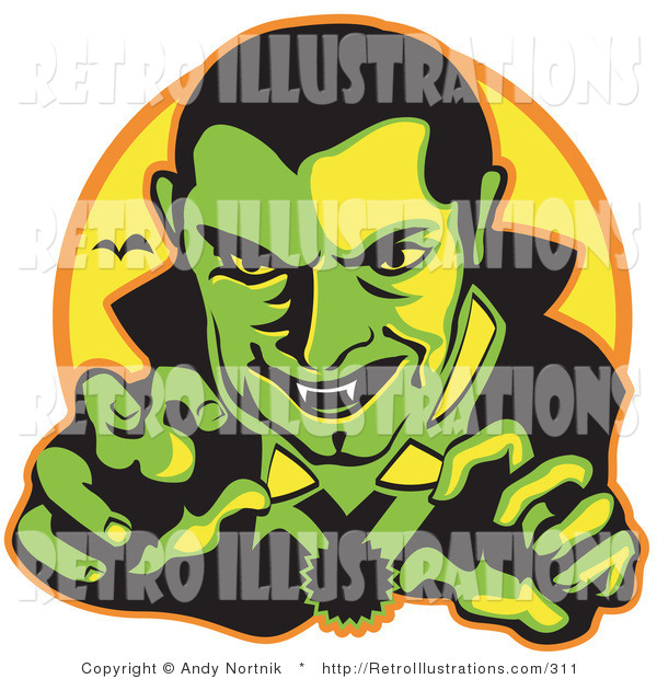 Retro Illustration of a Spooky Male Vampire with Dark Hair Slicked Back, Reaching Outwards While Grinning and Showing His Fangs As a Vampire Bat Flies in the Distance Clipart Illustration