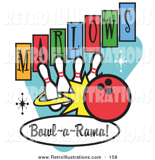 Retro Illustration of a Sporty Red Bowling Ball Crashing into Bowling Pins on a Vintage Marlows Bowl O Rama Sign
