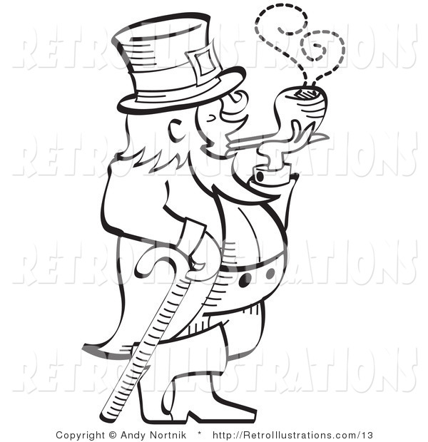 Retro Illustration of a St. Patrick's Day Leprechaun Leaning on a Cane and Smoking a Pipe in Black and White