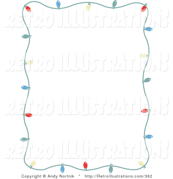 Retro Illustration of a Stationery Frame of Small Colorful Christmas Lights Bordering a White Background