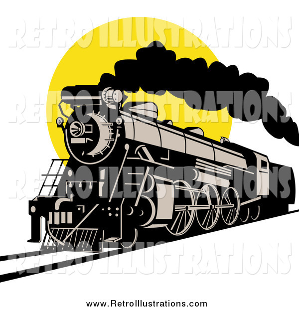 Retro Illustration of a Steam Engine Train Against a Yellow Sun