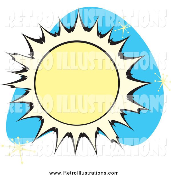 Retro Illustration of a Sun over Blue with Stars