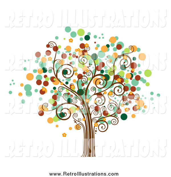 Retro Illustration of a Tree with Dot Foliage