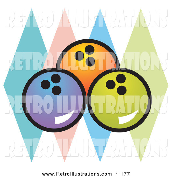 Retro Illustration of a Trio of Blue, Orange and Green Bowling Balls over Colorful Diamonds