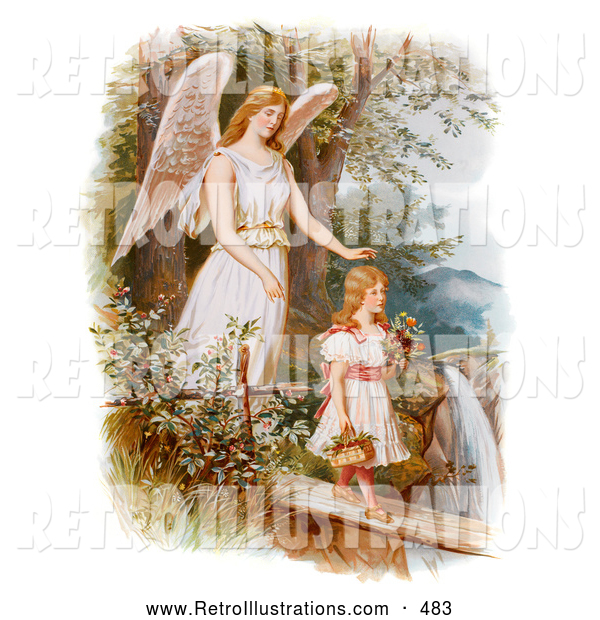 Retro Illustration of a Vintage Painting of a Female Guardian Angel Looking over a Little Girl As She Carries Flowers and a Basket Across a Log over a Cliff and River, Circa 1890