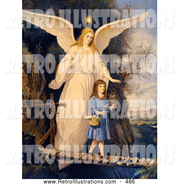 Retro Illustration of a Vintage Painting of a Female Guardian Angel Protecting a Little Girl As She Crosses a Gorge on a Narrow Bridge, Carrying a Basket and Flowers, Circa 1890