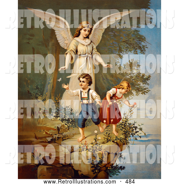 Retro Illustration of a Vintage Painting of a Guardian Angel Watching over Children Teetering on a Tall Cliff, Circa 1890