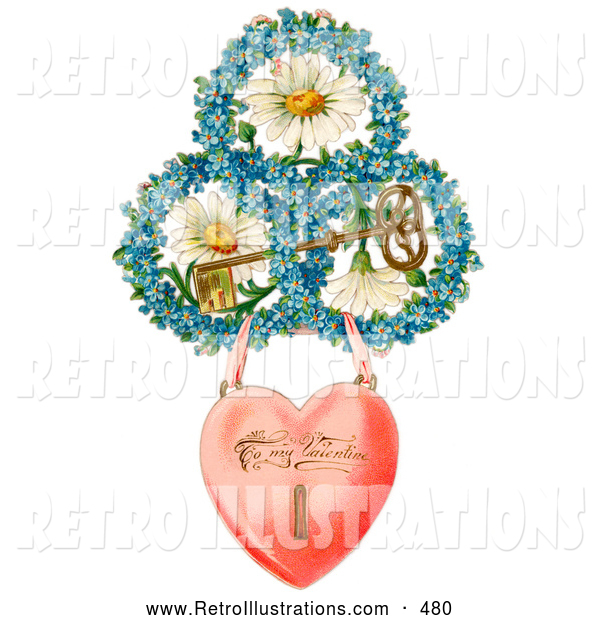 Retro Illustration of a Vintage Painting of a Heart Locket Suspended from Rings of Blue Flowers Around White Daisies with a Gold Skeleton Key Circa 1890
