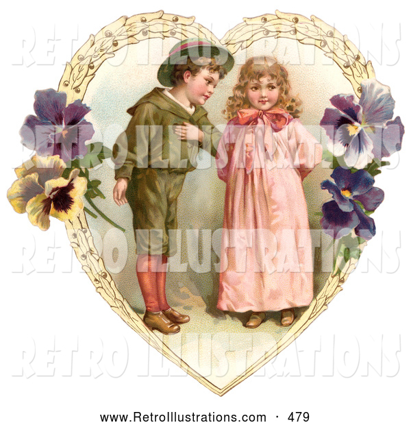 Retro Illustration of a Vintage Painting of a Sweet Little Boy Trying to Woo a Little Girl in a Heart of Leaves and Pansy Flowers, Circa 1890