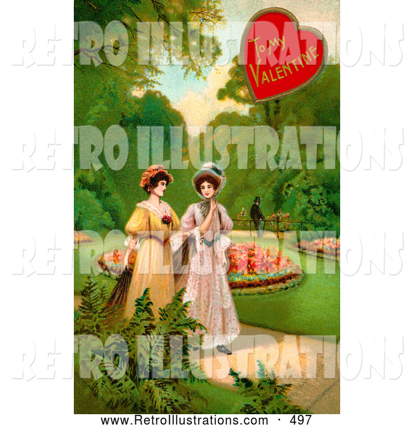 Retro Illustration of a Vintage Valentine Painting of Two Ladies Strolling Through a Garden and Talking About a Man in the Background
