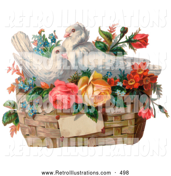 Retro Illustration of a Vintage Valentine Painting of Two White Doves Nesting in a Basket of Forget Me Nots and Roses, Circa 1890