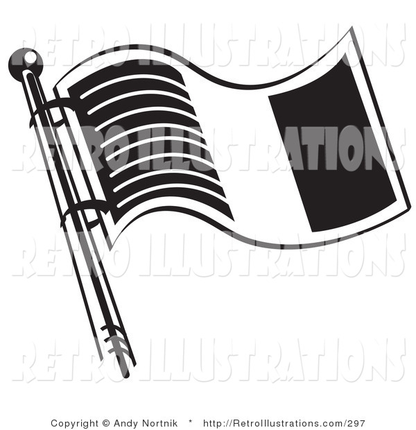 Retro Illustration of a Waving Flag of Ireland in Black and White