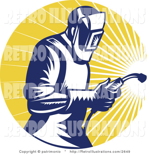 Retro Illustration of a Welder and Rays