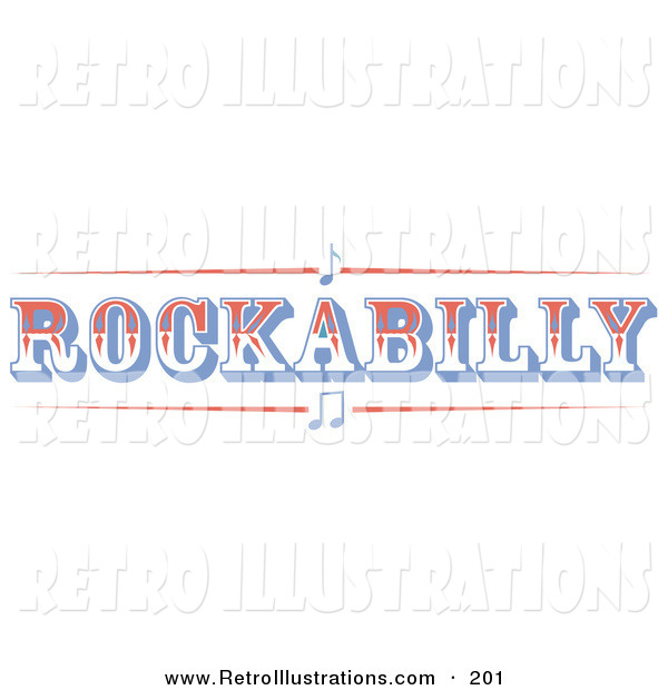 Retro Illustration of a Western Rockabilly Music Sign on White