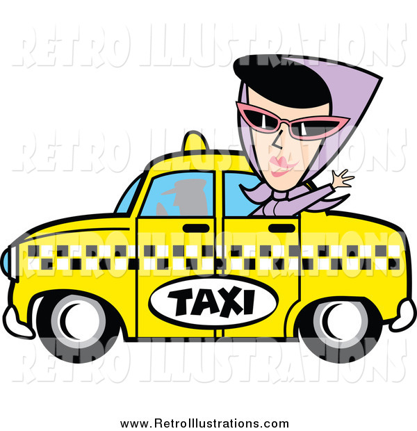 Retro Illustration of a Woman Waving from a Taxi Cab