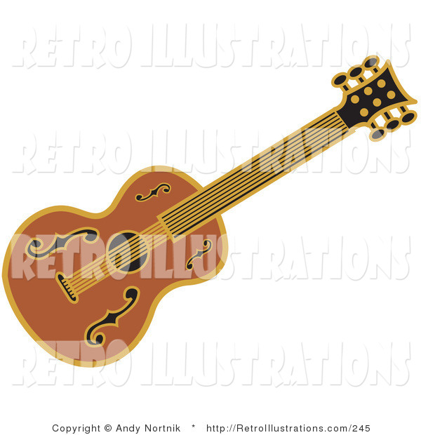 Retro Illustration of a Wood Western Guitar over a White Background