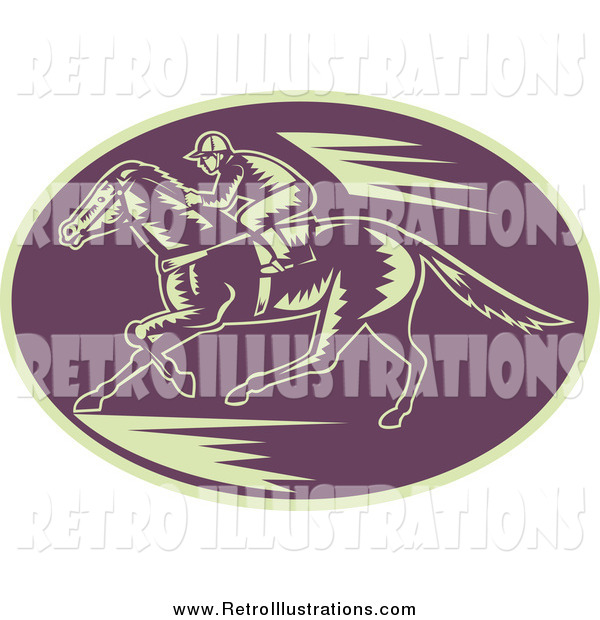 Retro Illustration of a Woodcut Purple and Beige Horse Racing Scene