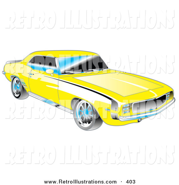 Retro Illustration of a Yellow 1969 Chevrolet RS/SS Camaro Muscle Car with Black Stripes on the Sides and Silver Detailing