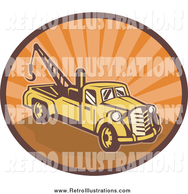 Retro Illustration of a Yellow and Orange Tow Truck in an Oval of Orange Sunshine