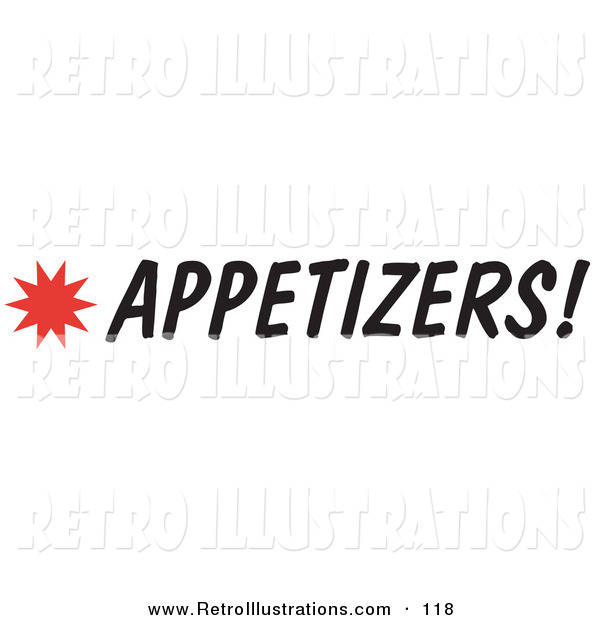 Retro Illustration of an Appetizers Sign with a Star Burst on White