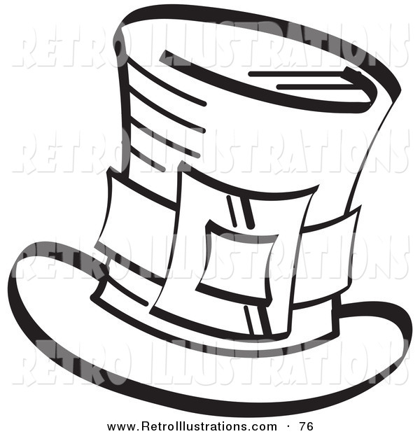 Retro Illustration of an Irish Leprechaun's Tophat with a Buckle in Black and White