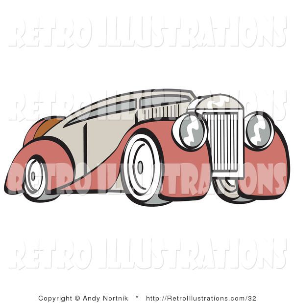 Retro Illustration of an Old Fashioned Red and Grey Luxury Sedan Car, from the Front Side