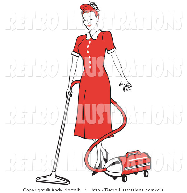 Retro Illustration of an Old Fashioned Red Haired Housewife or Maid Woman in a Long Red Dress and Heels, Using a Canister Vacuum to Clean the Floors