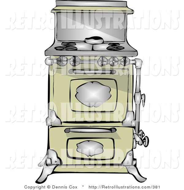 Retro Illustration of an Old Fashioned Stove