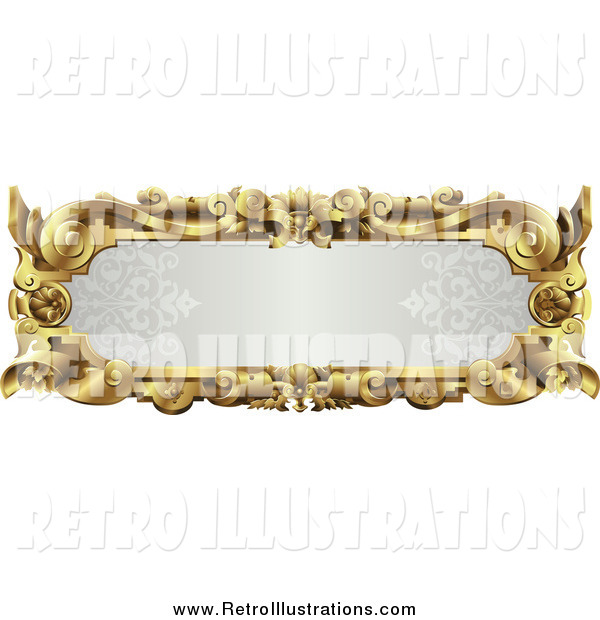 Retro Illustration of an Ornate Gold Frame with Text Space
