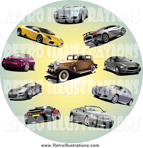 Retro Illustration of Coupes, Classic and Sports Cars in a Circle