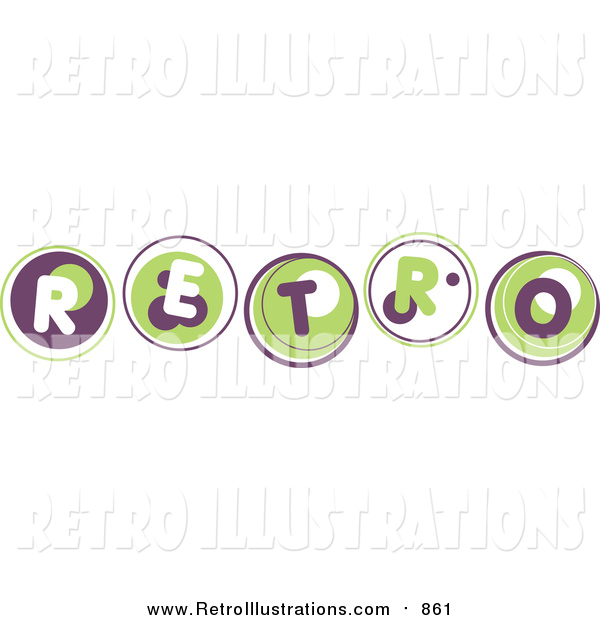 Retro Illustration of Green and Blue Retro Word with Bubbles