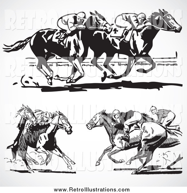 Retro Illustration of Retro Black and White Horse Races on Gray