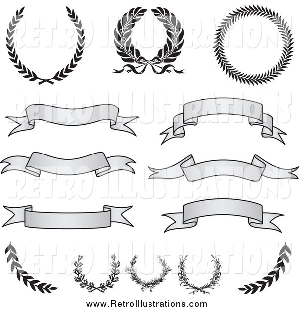 Retro Illustration of Retro Grayscale Banners, Laurels and Wreaths