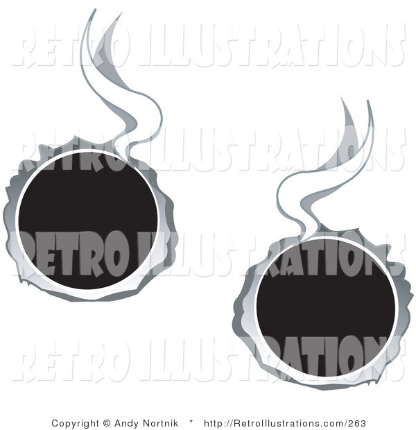 Retro Illustration of Two Hot Bullet Holes Shot Through Metal, Smoking