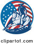 Retro Illustration of a American Cowboy and Horse in a Flag Circle by Patrimonio