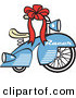 Retro Illustration of a Brand New Blue Racer Tricycle Bike with a Red Ribbon in the Handlebars Driving RIght by Andy Nortnik