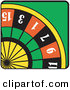 Retro Illustration of a Colorful Roulette Wheel in a Gambling Casino by Andy Nortnik