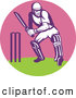 Retro Illustration of a Cricket Batsman in a Pink Circle by Patrimonio