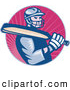 Retro Illustration of a Cricket Batsman Player over Pink Rays by Patrimonio