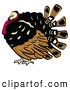 Retro Illustration of a Fat or Chubby Brown, Black and Red Turkey Bird with His Head Tucked in His Neck by Andy Nortnik