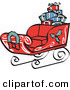 Retro Illustration of a Festive Red Sleigh Decorated with Holly and a Wreath, Carrying Presents Retro by Andy Nortnik