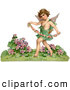 Retro Illustration of a Friendly Cupid Playfully Running Through a Garden and Carrying a Garland of Flowers, Circa 1888 by OldPixels