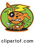 Retro Illustration of a Frowning Orange Zombie Dog with Stitches and a Black Eye, Itching Fleas off of Himself and Biting a Fishbone by Andy Nortnik