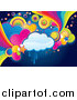 Retro Illustration of a Funky Cloud, Circle, Heart and Rainbow Grunge Background by MilsiArt