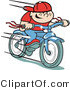 Retro Illustration of a Happy Boy Riding Fast on a Brand New Blue Bike by Andy Nortnik