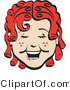 Retro Illustration of a Happy Red Haired Girl with Freckles and Curly Hair, Laughing Retro by Andy Nortnik