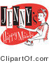Retro Illustration of a Happy Redhaired Woman in a White Apron, Ironing Clothes on a Vintage Jenny's Happy Maids Advertisement by Andy Nortnik