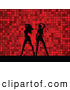 Retro Illustration of a Pair of Black Silhouetted Women Dancing over a Retro Red Dotted Background by KJ Pargeter
